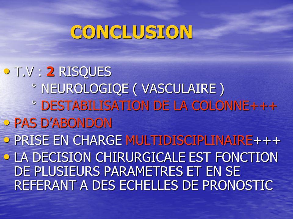 CONCLUSION T.V : 2 RISQUES ° NEUROLOGIQE ( VASCULAIRE )