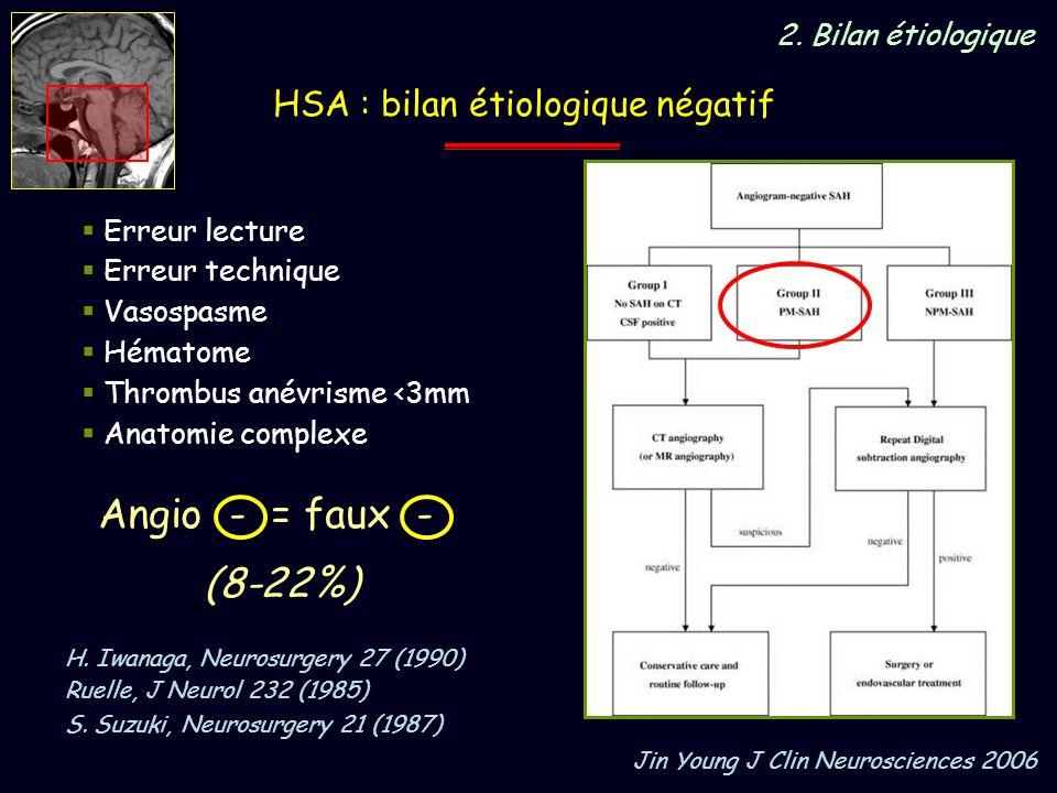 Angio - = faux - (8-22%) HSA : bilan étiologique négatif