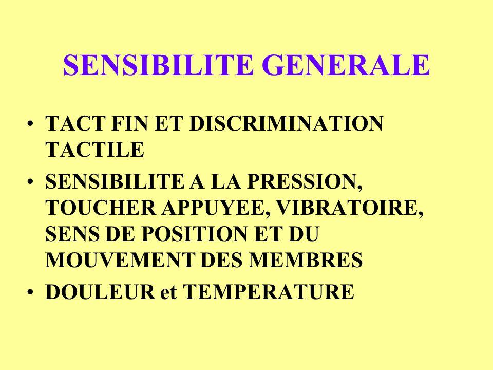 SENSIBILITE GENERALE TACT FIN ET DISCRIMINATION TACTILE