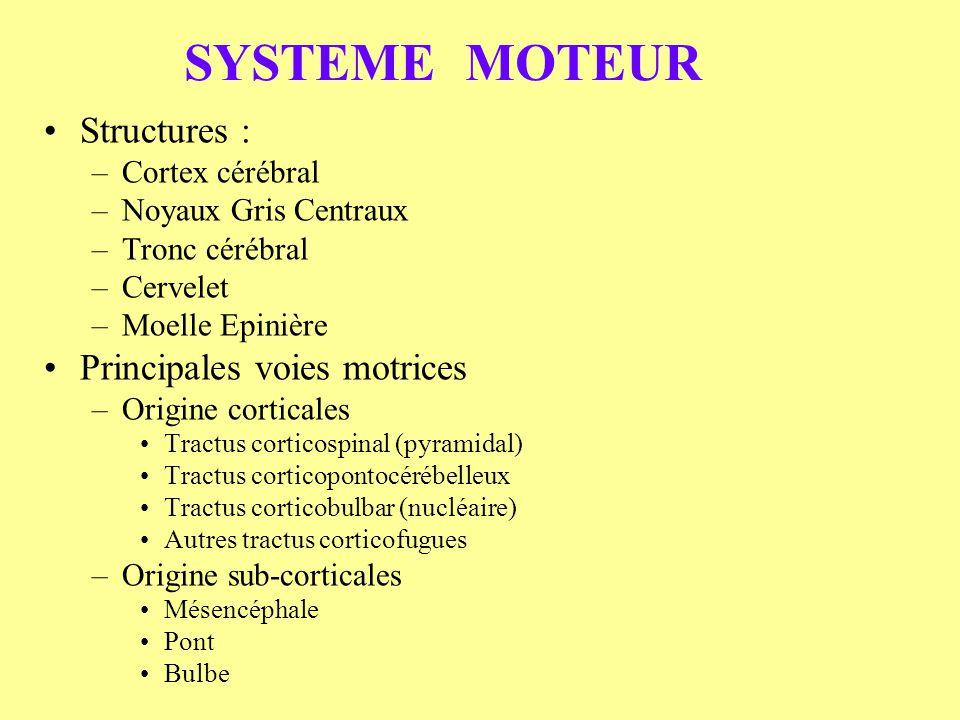 SYSTEME MOTEUR Structures : Principales voies motrices Cortex cérébral