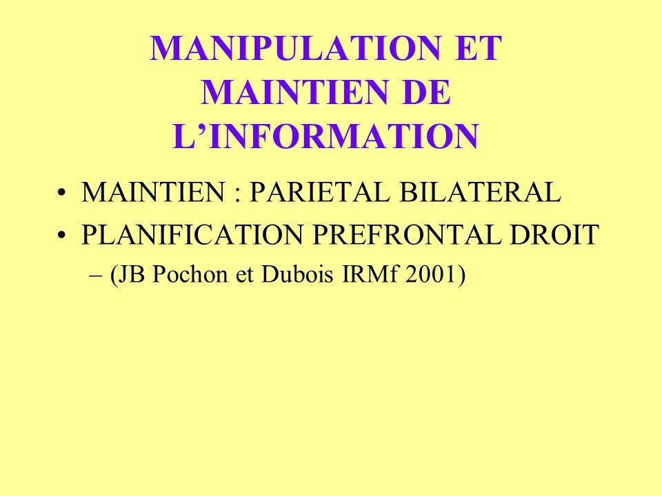 MANIPULATION ET MAINTIEN DE L'INFORMATION