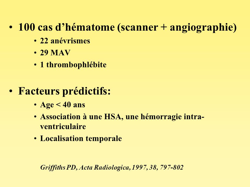 100 cas d'hématome (scanner + angiographie)