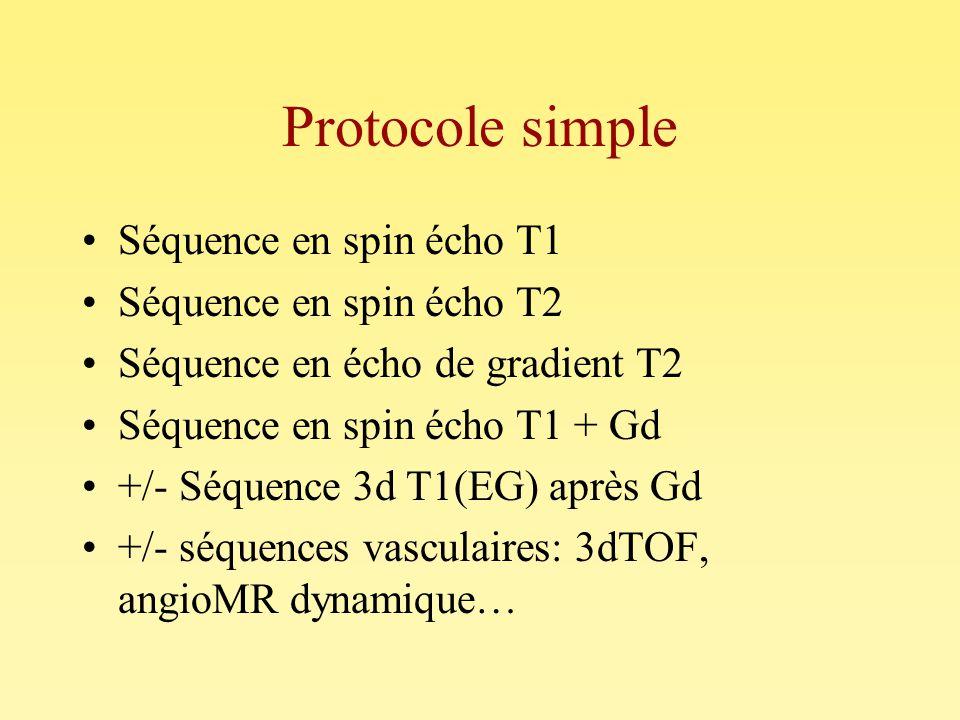 Protocole simple Séquence en spin écho T1 Séquence en spin écho T2