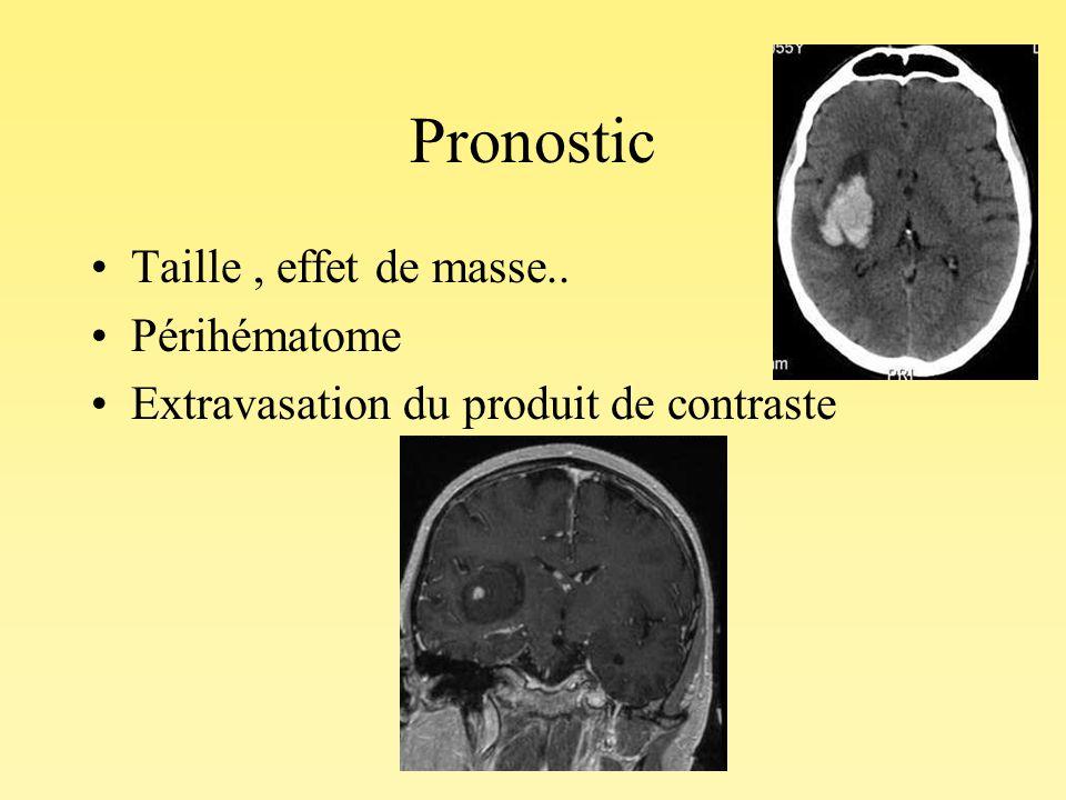 Pronostic Taille , effet de masse.. Périhématome