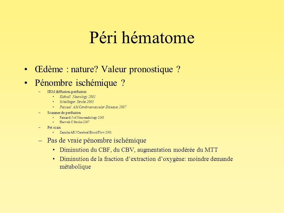 Péri hématome Œdème : nature Valeur pronostique