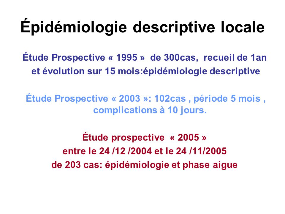 Épidémiologie descriptive locale