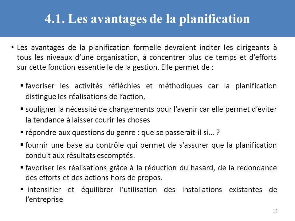 4.1. Les avantages de la planification