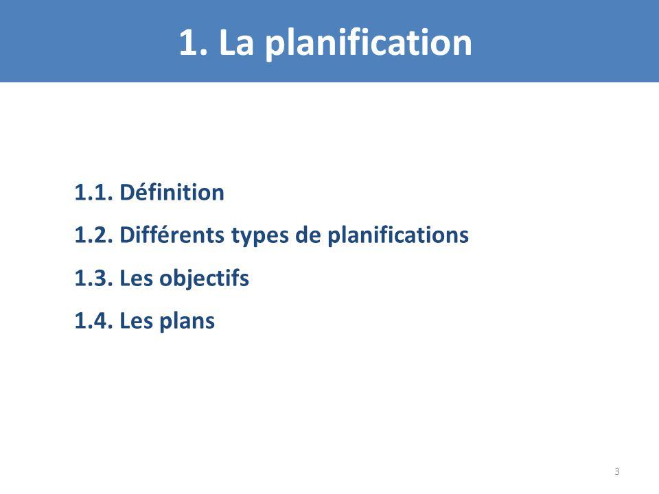1. La planification 1.1. Définition