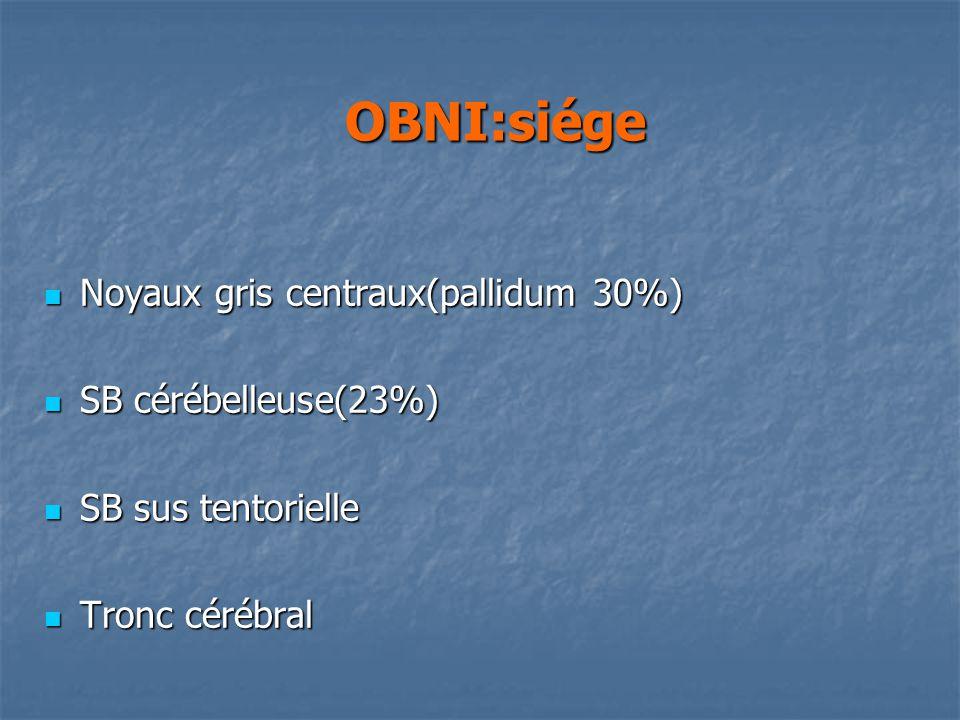 OBNI:siége Noyaux gris centraux(pallidum 30%) SB cérébelleuse(23%)