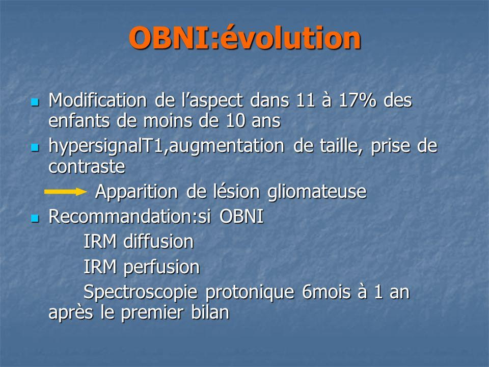 OBNI:évolution Modification de l'aspect dans 11 à 17% des enfants de moins de 10 ans. hypersignalT1,augmentation de taille, prise de contraste.