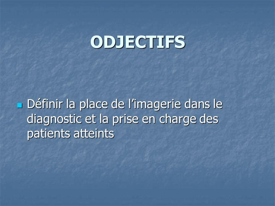 ODJECTIFS Définir la place de l'imagerie dans le diagnostic et la prise en charge des patients atteints.