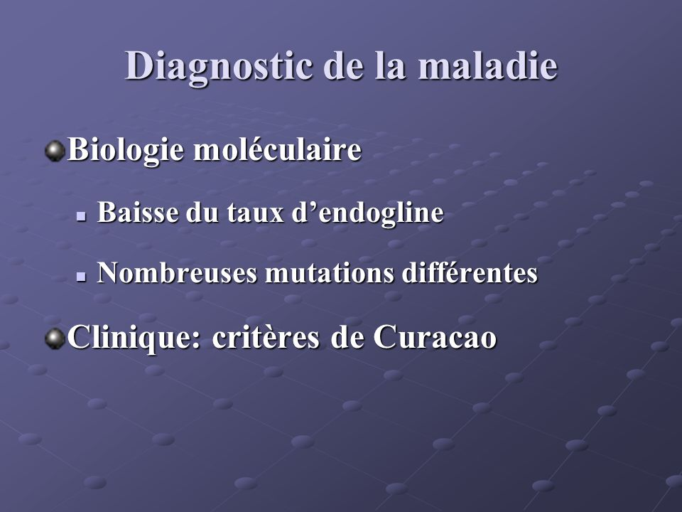 Diagnostic de la maladie