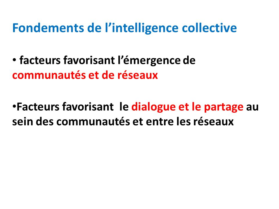 Fondements de l'intelligence collective