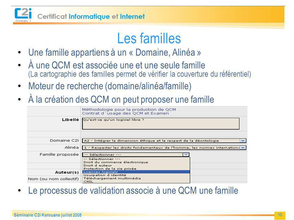 Les familles Une famille appartiens à un « Domaine, Alinéa »