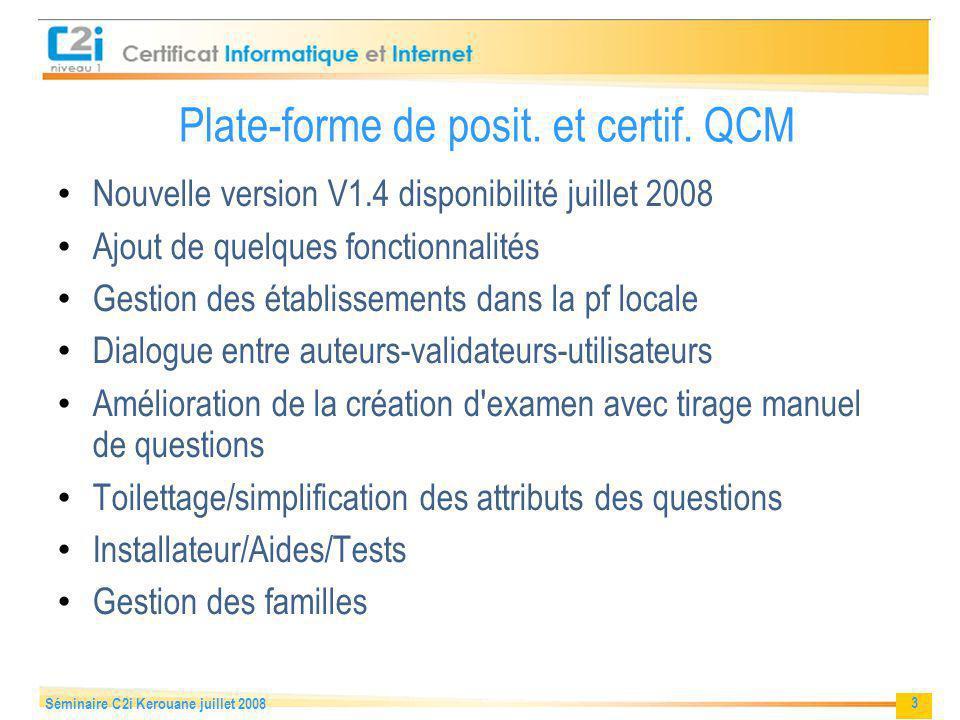 Plate-forme de posit. et certif. QCM
