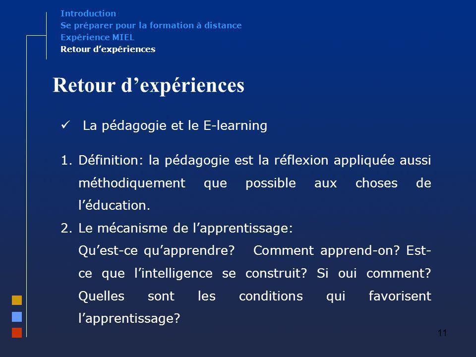 Retour d'expériences La pédagogie et le E-learning