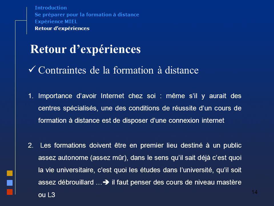 Retour d'expériences Contraintes de la formation à distance
