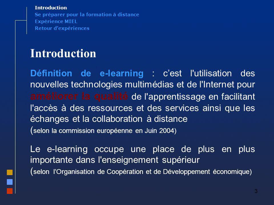 Introduction Se préparer pour la formation à distance. Expérience MIEL. Retour d'expériences. Introduction.