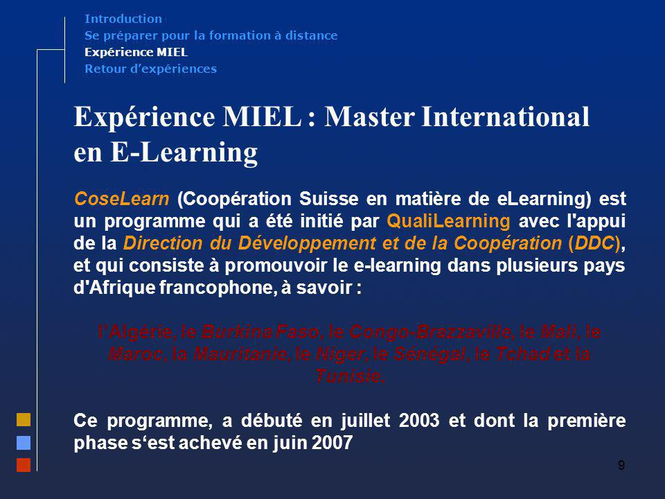 Expérience MIEL : Master International en E-Learning