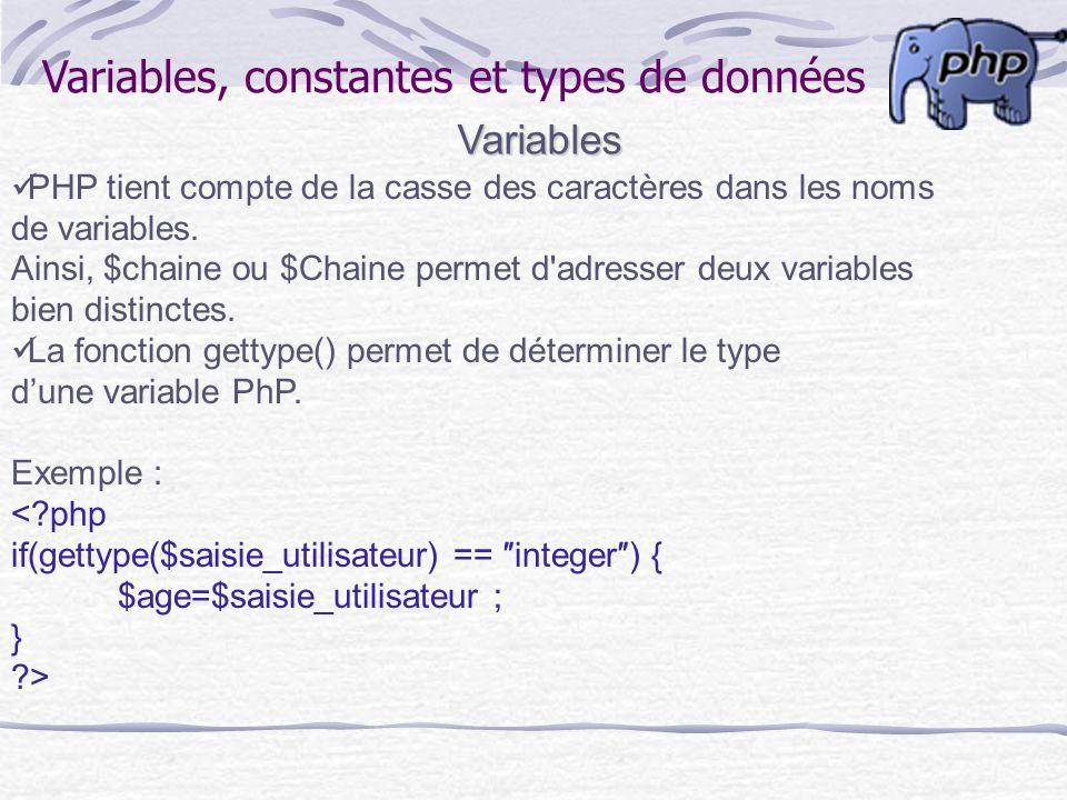 Variables, constantes et types de données