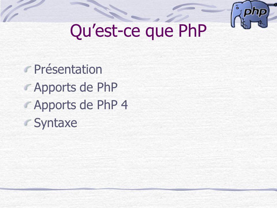 Qu'est-ce que PhP Présentation Apports de PhP Apports de PhP 4 Syntaxe