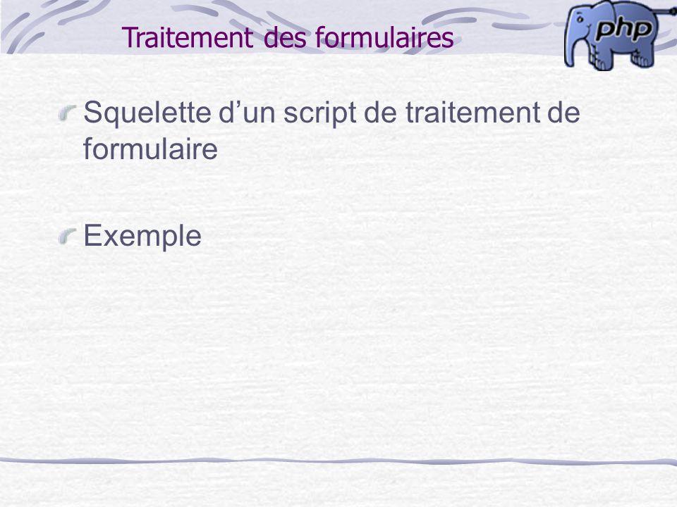 Traitement des formulaires
