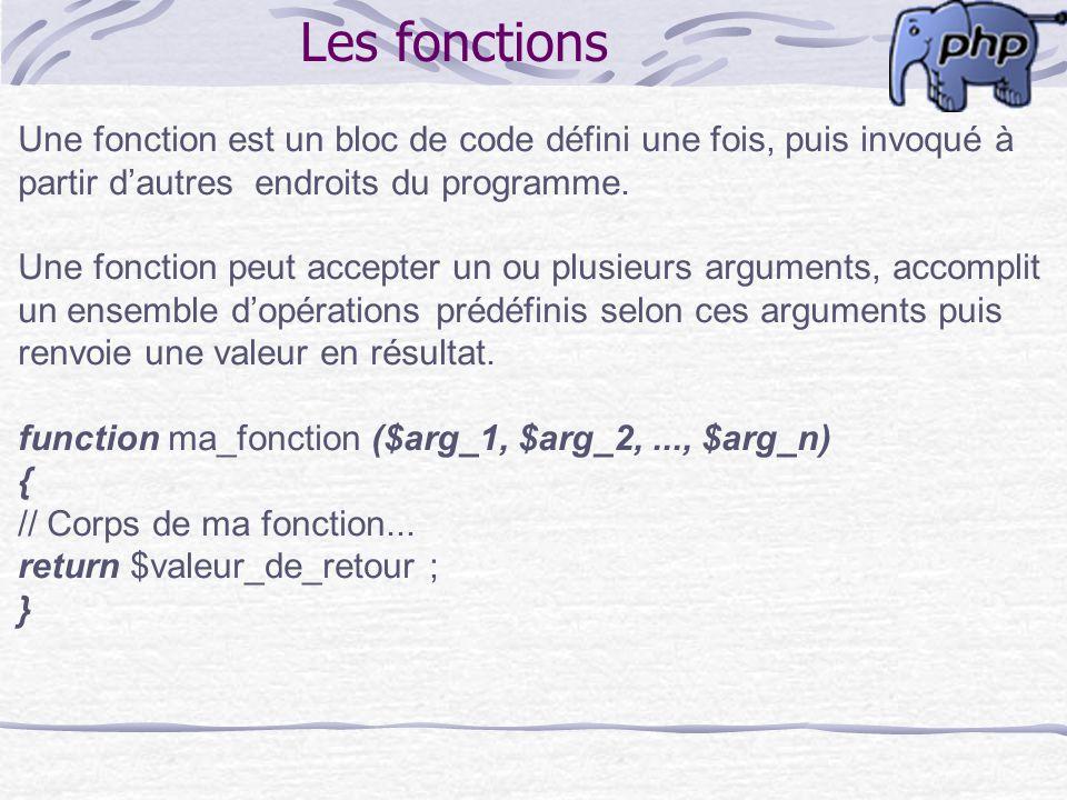 Les fonctions Une fonction est un bloc de code défini une fois, puis invoqué à. partir d'autres endroits du programme.