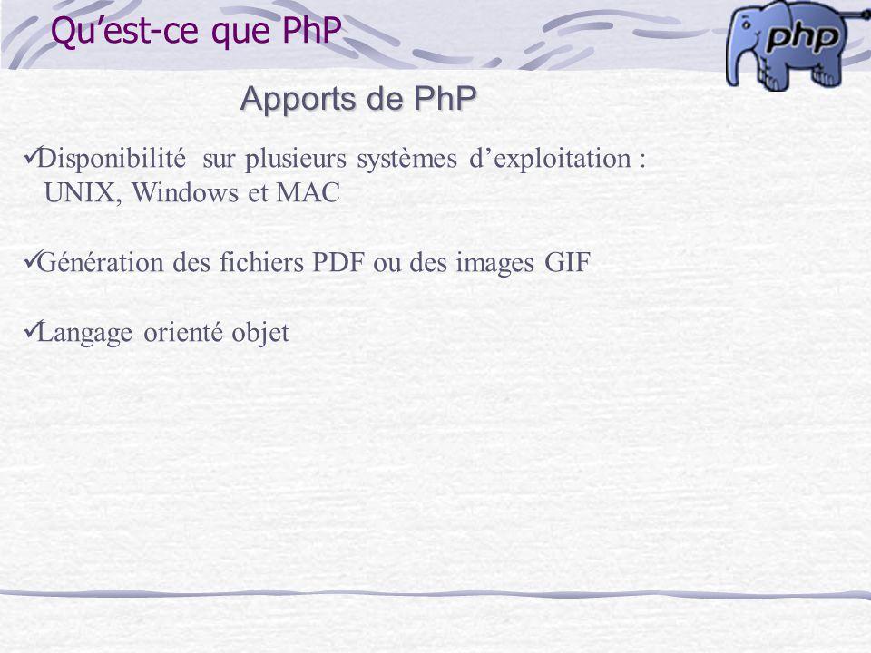 Qu'est-ce que PhP Apports de PhP