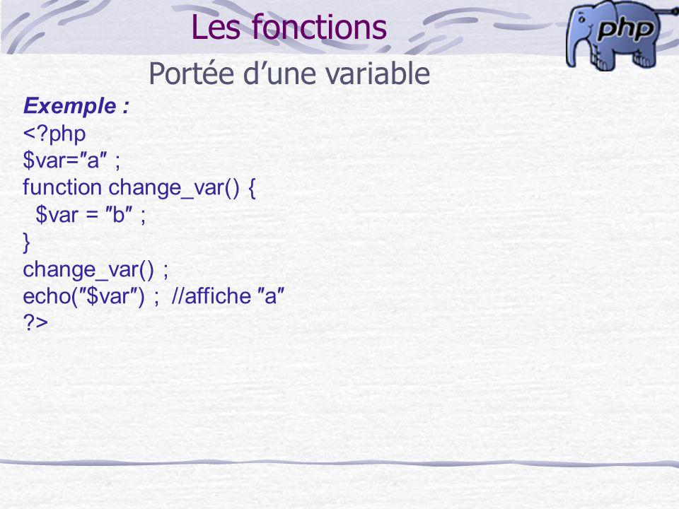 Les fonctions Portée d'une variable Exemple : < php $var=″a″ ;