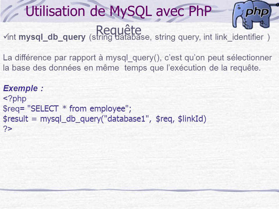 Utilisation de MySQL avec PhP