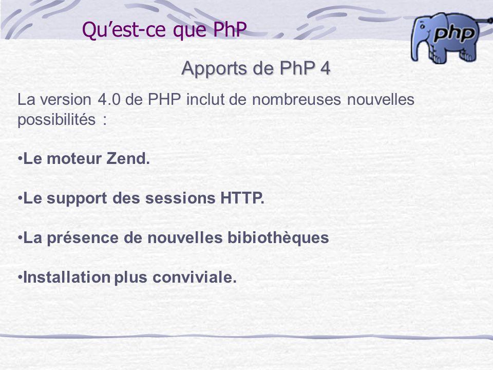 Qu'est-ce que PhP Apports de PhP 4