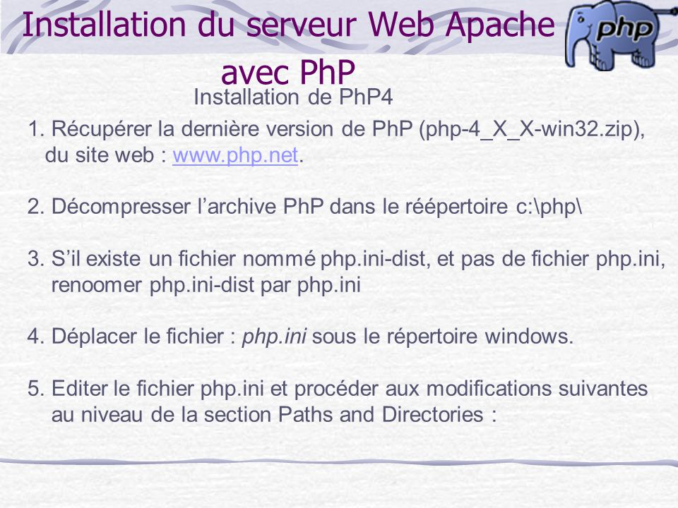 Installation du serveur Web Apache avec PhP
