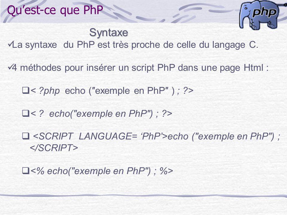 Qu'est-ce que PhP Syntaxe