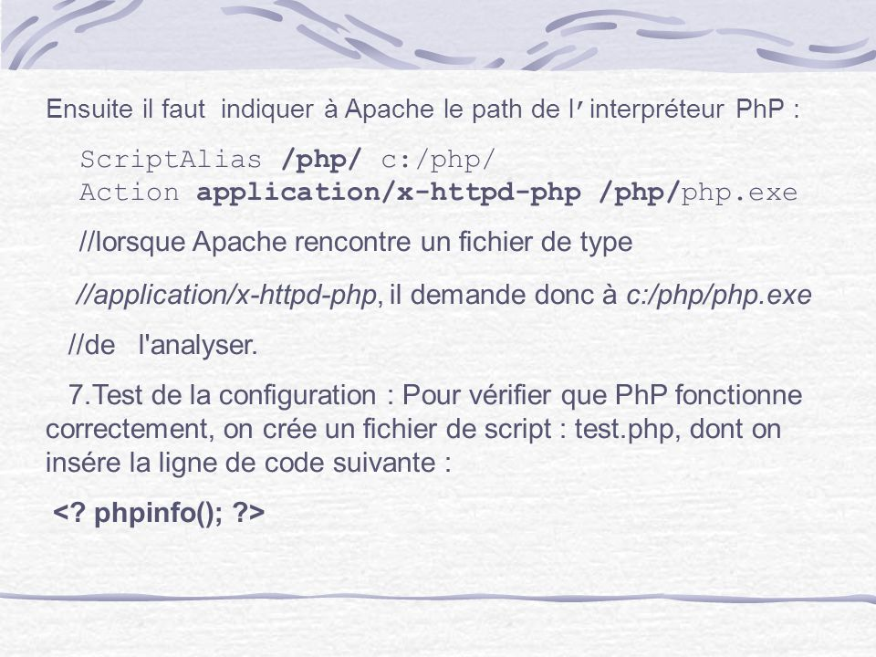 ScriptAlias /php/ c:/php/ Action application/x-httpd-php /php/php.exe