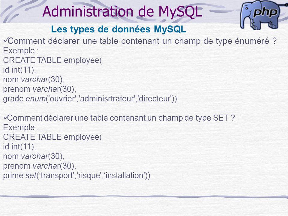 Administration de MySQL