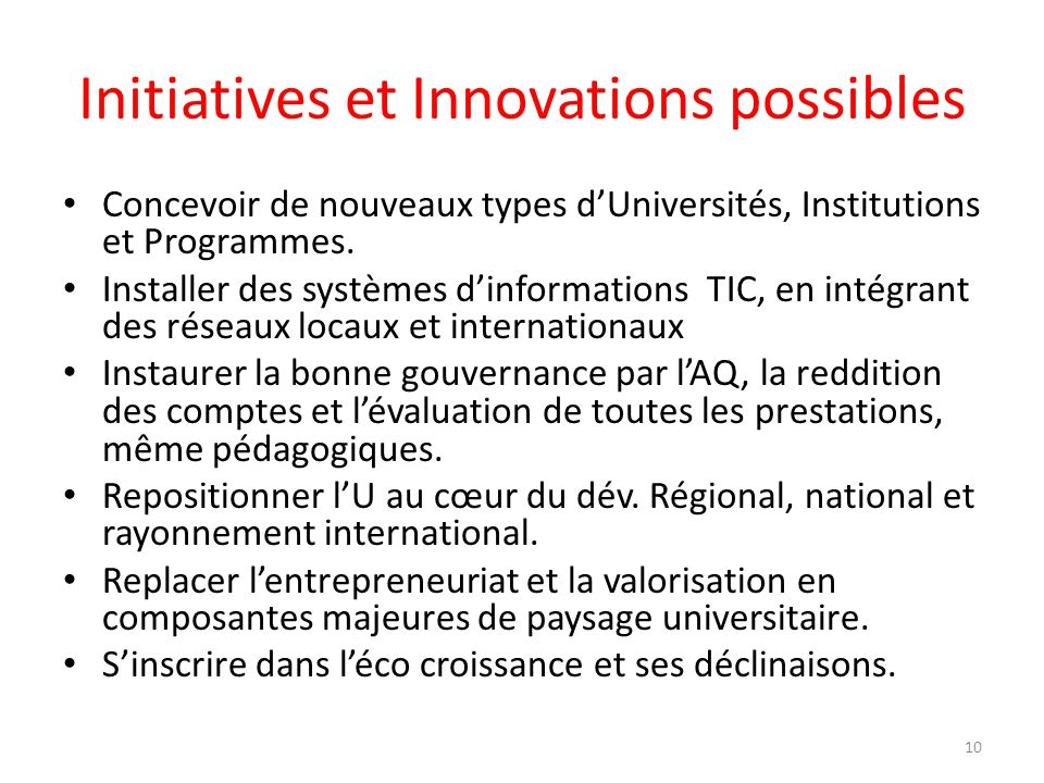 Initiatives et Innovations possibles