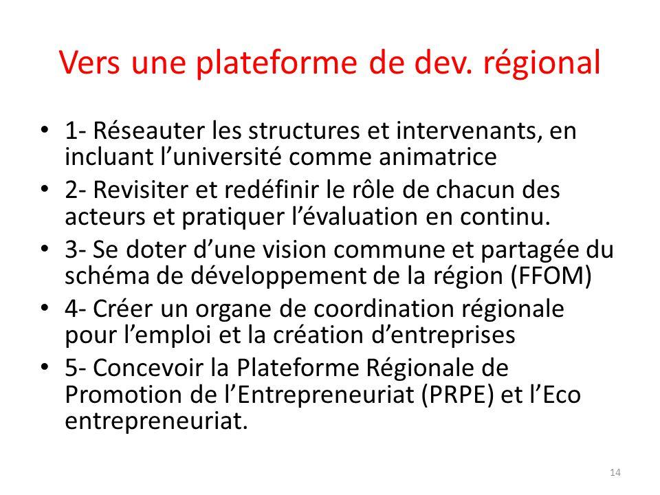Vers une plateforme de dev. régional