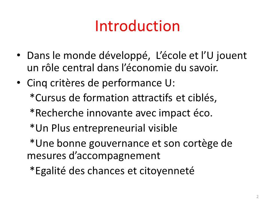 Introduction Dans le monde développé, L'école et l'U jouent un rôle central dans l'économie du savoir.