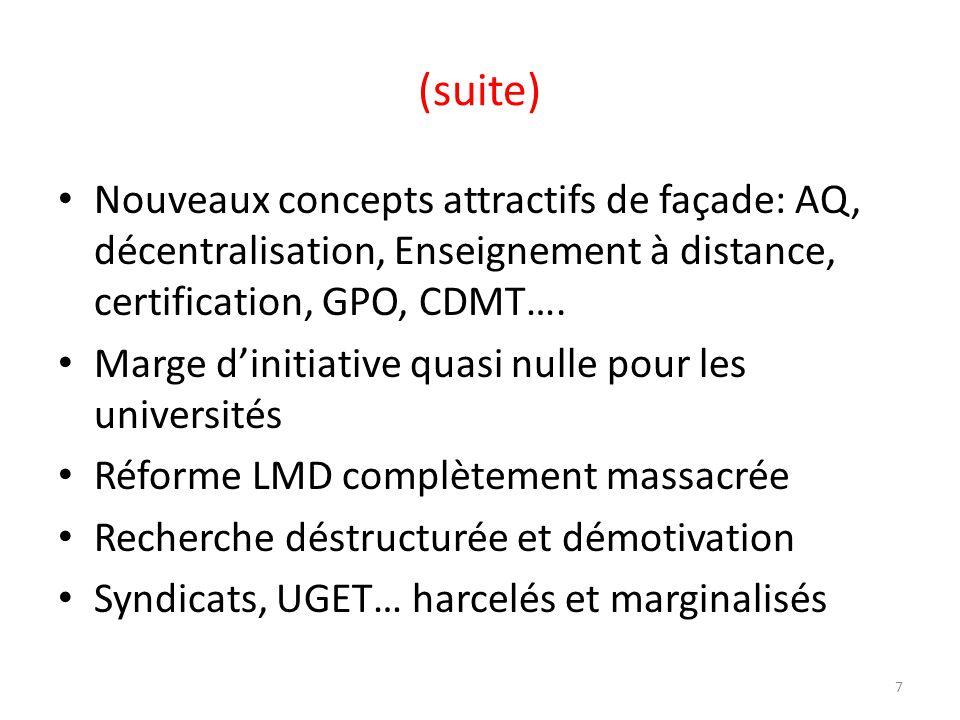 (suite) Nouveaux concepts attractifs de façade: AQ, décentralisation, Enseignement à distance, certification, GPO, CDMT….