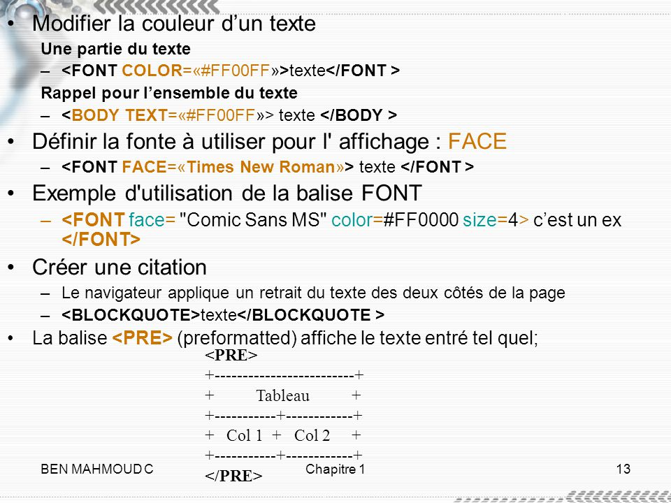 Modifier la couleur d'un texte