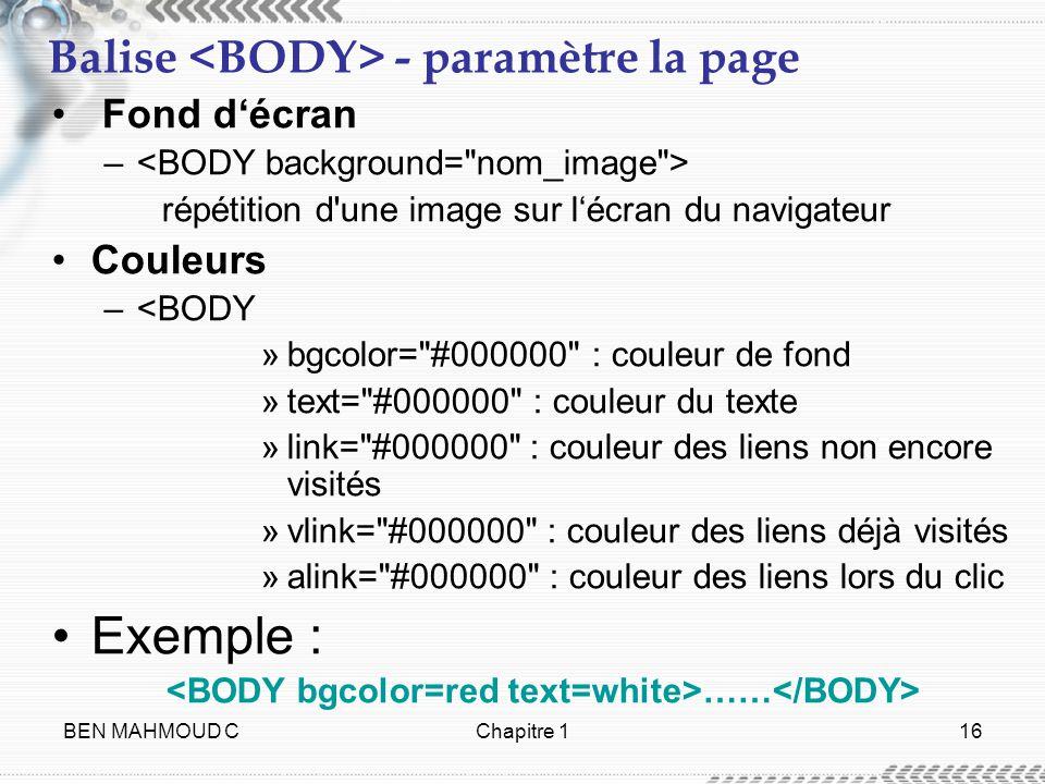Balise <BODY> - paramètre la page