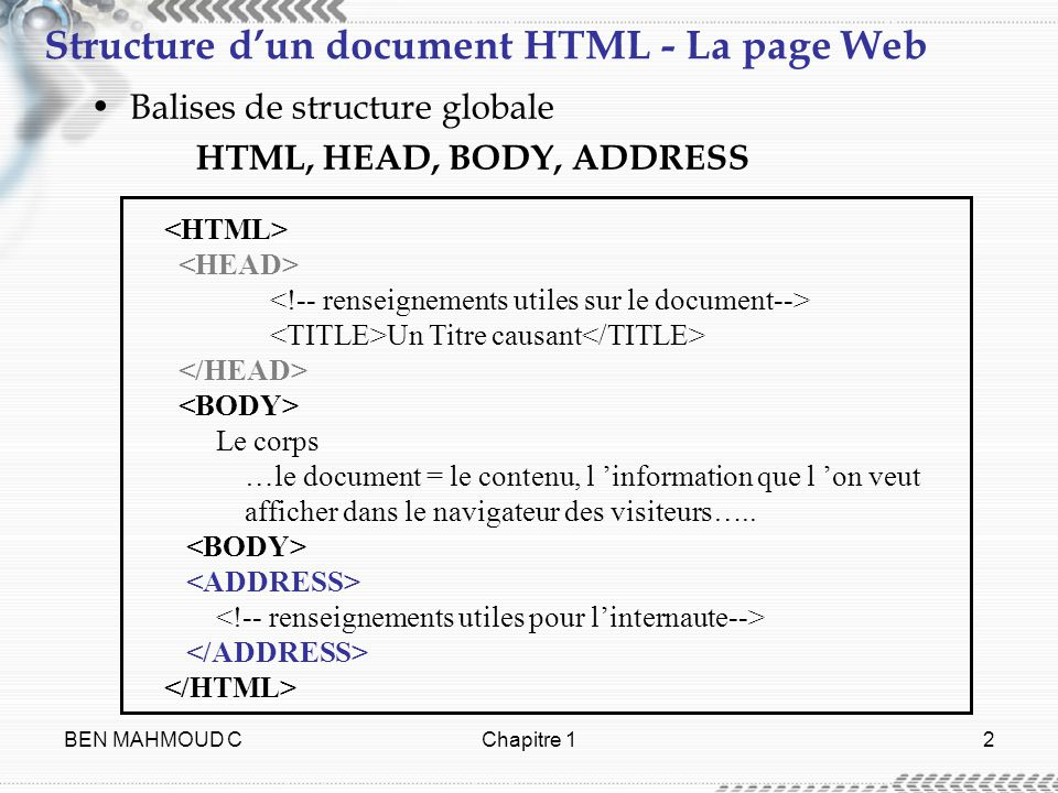 Structure d'un document HTML - La page Web