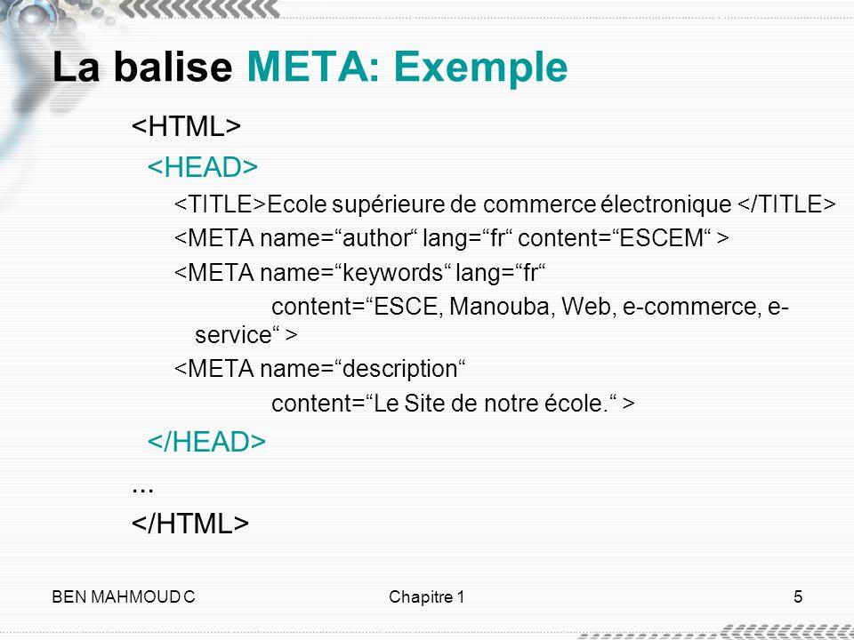 La balise META: Exemple