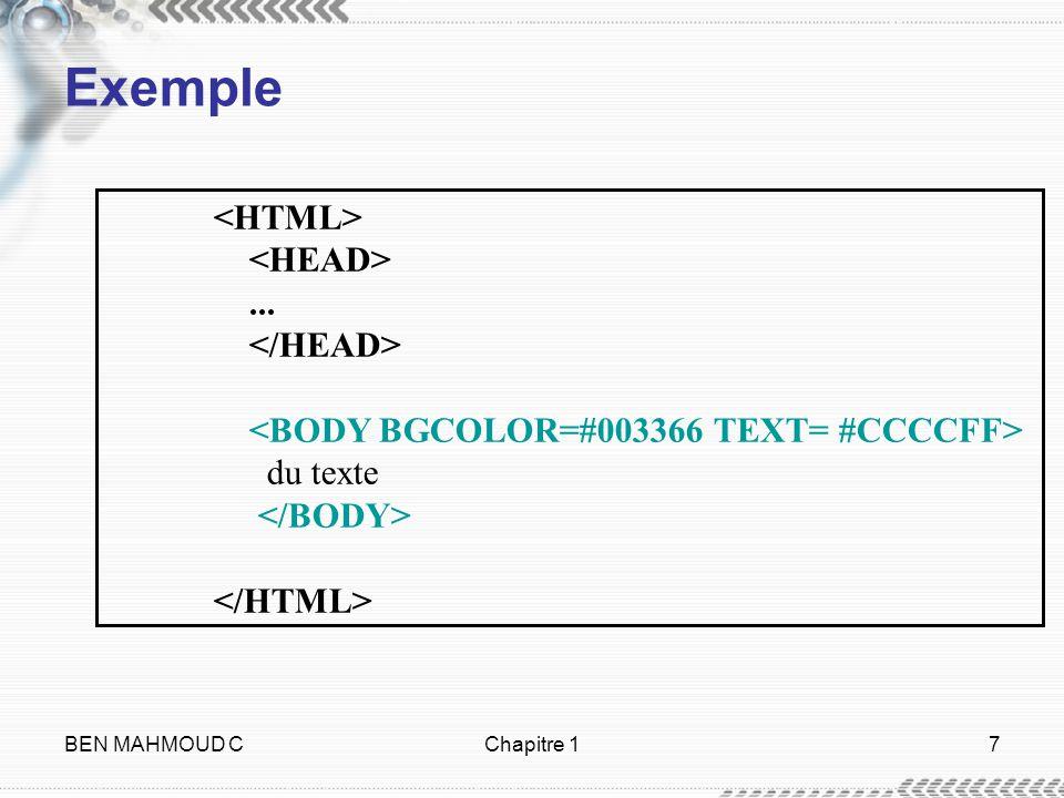 Exemple <HTML> <HEAD> ... </HEAD>