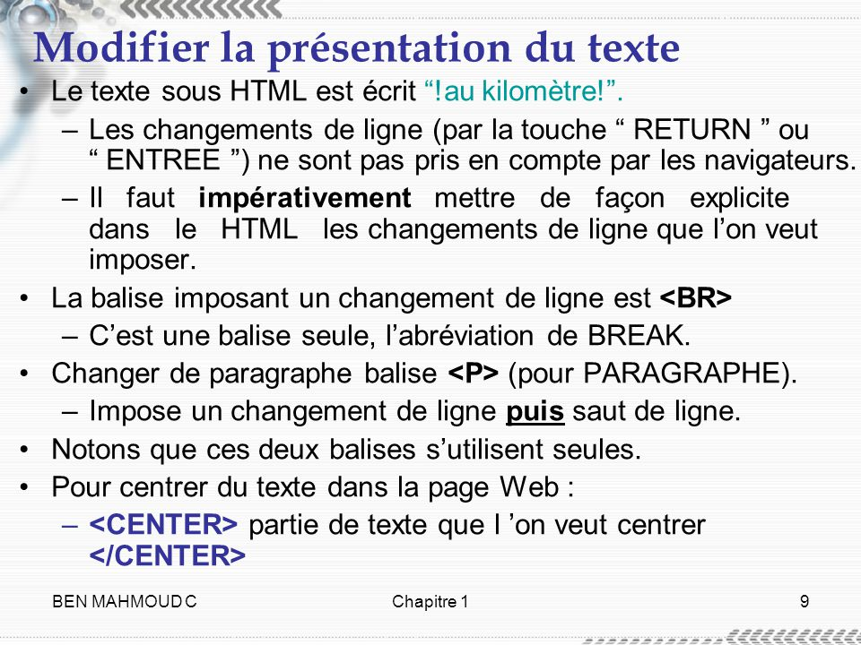 Modifier la présentation du texte