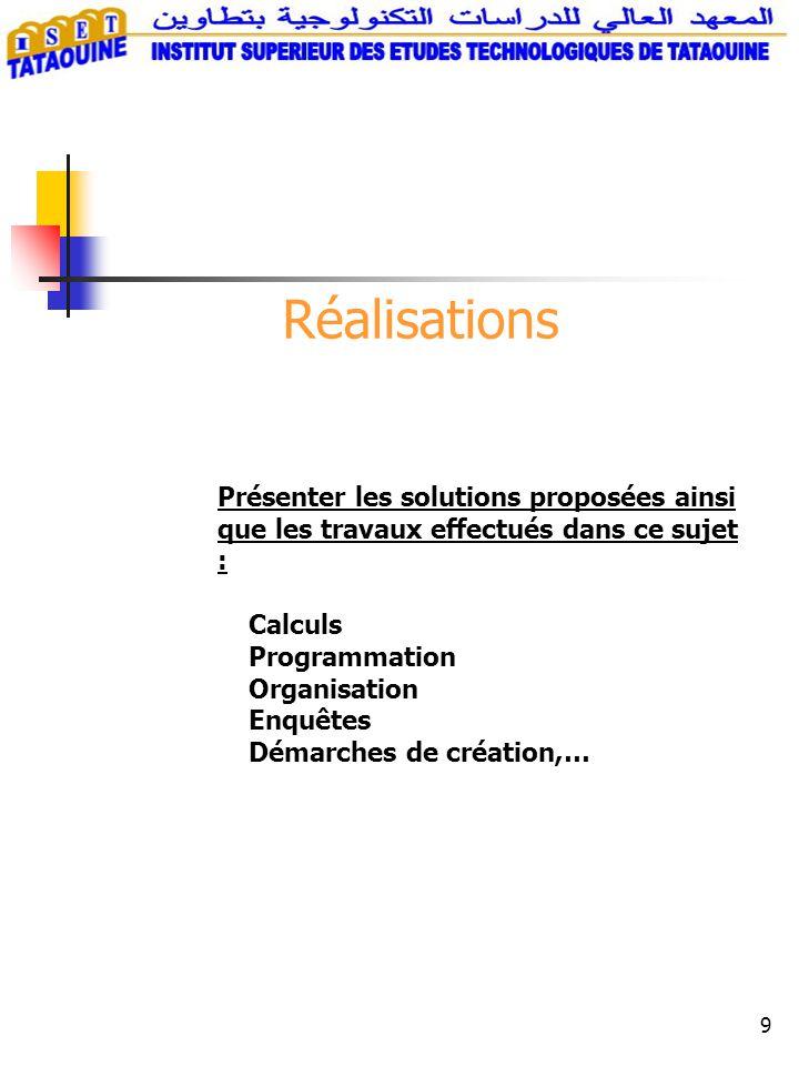 Réalisations Présenter les solutions proposées ainsi que les travaux effectués dans ce sujet : Calculs.