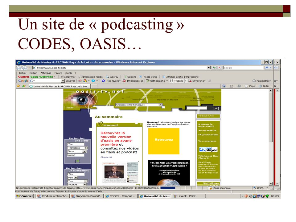 Un site de « podcasting » CODES, OASIS…