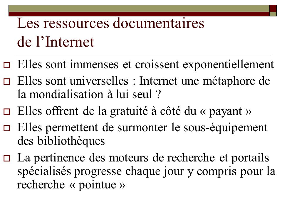 Les ressources documentaires de l'Internet
