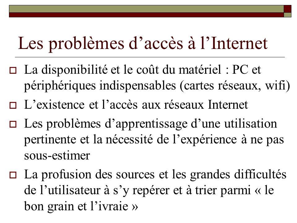 Les problèmes d'accès à l'Internet