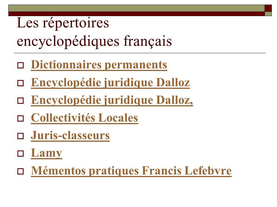 Les répertoires encyclopédiques français